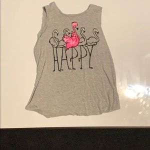 Gray tank top with a flamingo design on the front